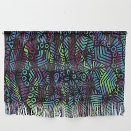 Purple and Green Doodle 14 Wall Hanging