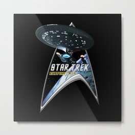 StarTrek Command Silver Signia Enterprise 1701 D  2 Metal Print