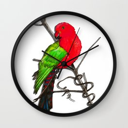 One King Parrot - Red Wall Clock