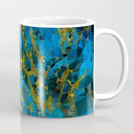 Blue Gold Marble Low Poly Geometric Triangles Coffee Mug