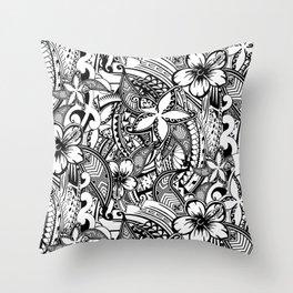 Hawaiian Polynesian Trbal Tatoo Print Throw Pillow