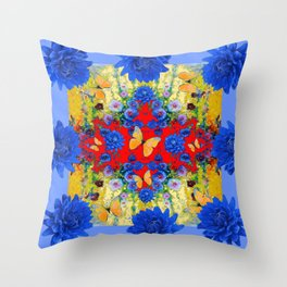 VERY BLUE  FLOWERS YELLOW BUTTERFLIES PATTERN ART Throw Pillow