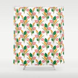 Cute Hand Paint Green Foliage Pink Design Shower Curtain
