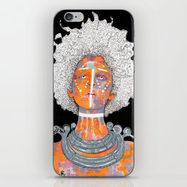 African Queen with white Eyes and awesome Afro iPhone Skin