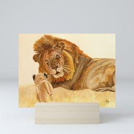 Lion Watercolor Mini Art Print