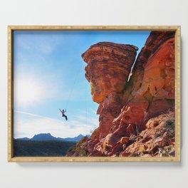 Rock Climber Swinging at Red Rock Canyon Serving Tray