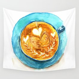 A Latte Hearts Wall Tapestry