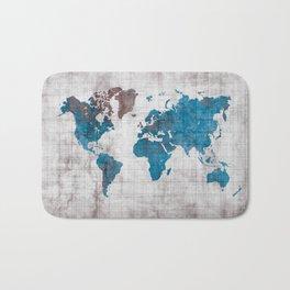 world map 96 blue #worldmap #map Bath Mat