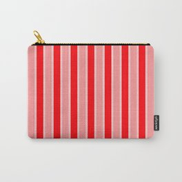 Large Vertical Christmas Holiday Red Velvet and White Bed Stripe Carry-All Pouch