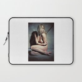 Naked woman chained to a wall in a dark cellar Laptop Sleeve