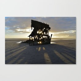 Wreck of the Peter Iredale at sunset Canvas Print