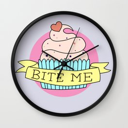 """BITE ME"" CUPCAKE Wall Clock"