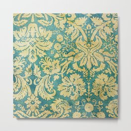 Vintage Antique Green and Gold Pattern Wallpaper Metal Print