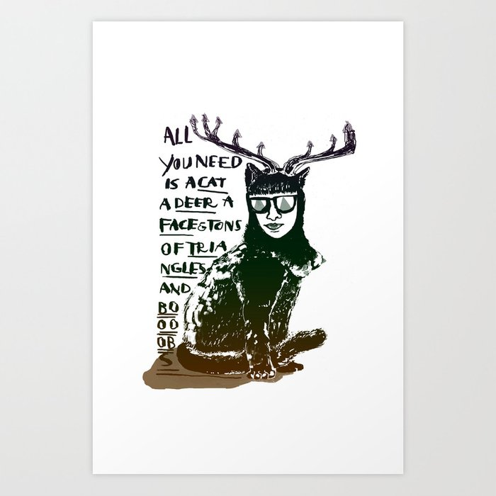 Hipster Cat giving Smart Advice Art Print