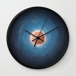 Solar System: Mars with Phobos and Deimos orbiting around. Wall Clock