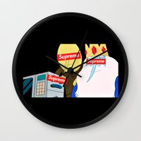 supreme Wall Clocks featuring Supreme Time! by Miss K'Tahni