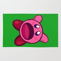 kirby Area & Throw Rugs featuring Hungry Hungry Kirby by Artistic Dyslexia