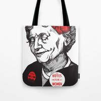 helen Tote Bags featuring Helen Keller  by Parker Nugent Illustration