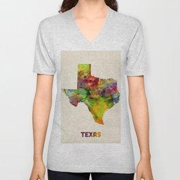 Texas Watercolor Map Unisex V-Neck