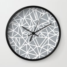 Abstract Outline Thick White on Grey Wall Clock