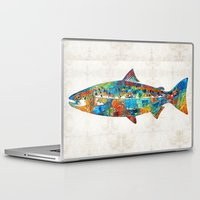spawn Laptop & iPad Skins featuring Fish Art Print - Colorful Salmon - By Sharon Cummings by Sharon Cummings