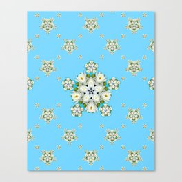 Waterlily Snowflake Pattern Canvas Print