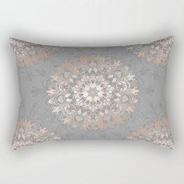 Rose Gold Gray Floral Mandala Rectangular Pillow