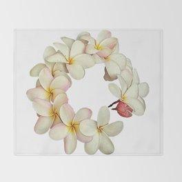 Plumeria Tropical Flower Garland Throw Blanket