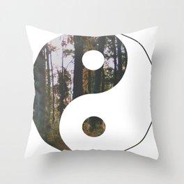Yin Yang Forest Throw Pillow