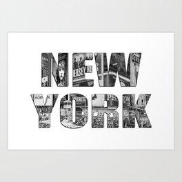New York (photo filled type on white) Art Print