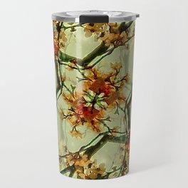 Floral Motif Print Pattern Collage Travel Mug