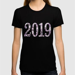 2019 patterned with pink flowers T-shirt