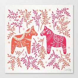 Swedish Dala Horses – Melon Palette Canvas Print