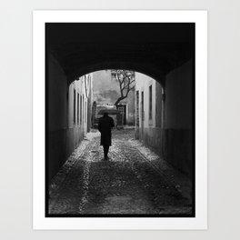 Man with umbrella Art Print