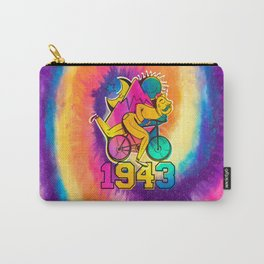 A reworked Bicycle acid 1943 on a tie dye background. Carry-All Pouch