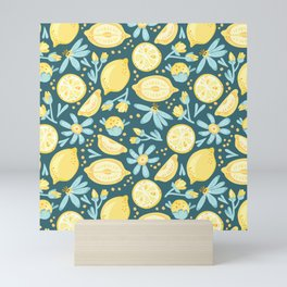 Lemon Pattern Green Mini Art Print