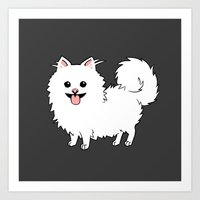 pomeranian Art Prints featuring Pomeranian by Robin Design
