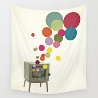 tv Wall Tapestries featuring Colour Television by Cassia Beck