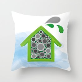 Solitary Bee Hotel Throw Pillow
