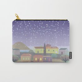 Snowing Village at Night (Square) Carry-All Pouch