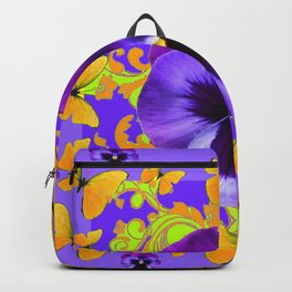 PURPLE PANSIES YELLOW BUTTERFLIES ABSTRACT FLORAL Backpack