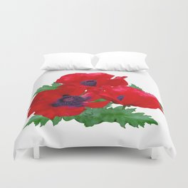 Red oriental poppies Duvet Cover