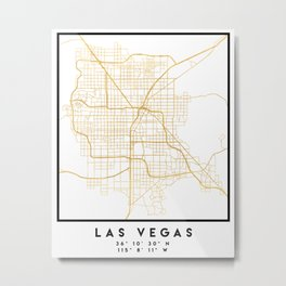 LAS VEGAS NEVADA CITY STREET MAP ART Metal Print