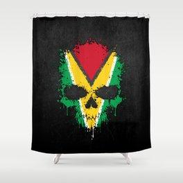 Flag of Guyana on a Chaotic Splatter Skull Shower Curtain