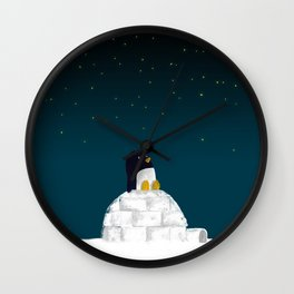 Star gazing - Penguin's dream of flying Wall Clock