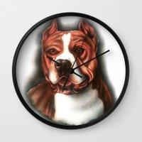 pitbull Wall Clocks featuring Pitbull Pride by Chris Furguson