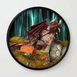 3D Illustration Dragon Treasure Wall Clock