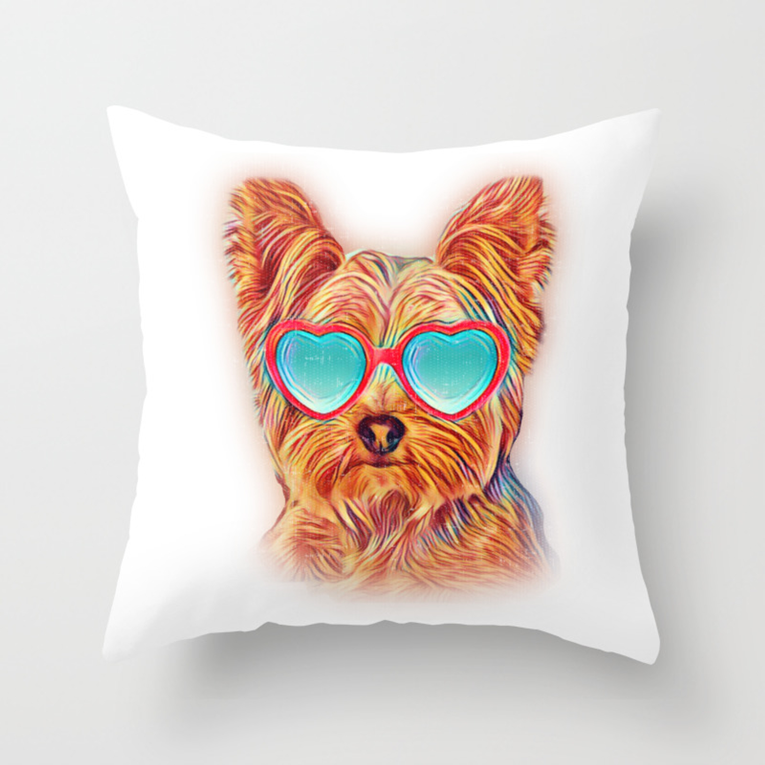 Yorkshire Terrier Colorful Yorkie Neon Dog Sunglasses Throw Pillow By Passionloft Society6