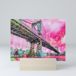 New York City Manhattan Bridge Red Mini Art Print
