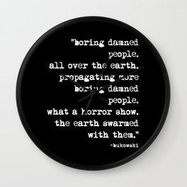 Charles Bukowski Typewriter White Font Quote People Wall Clock